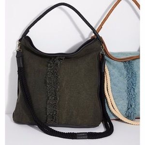 Free People Bags - Free People canvas & leather Crossbody tote NEW